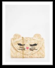sac paille motif chat